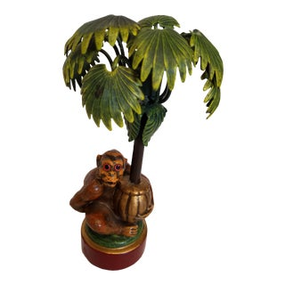 1980s Vintage Petites Choses Tole Palm Tree & Monkey Candle Holder For Sale