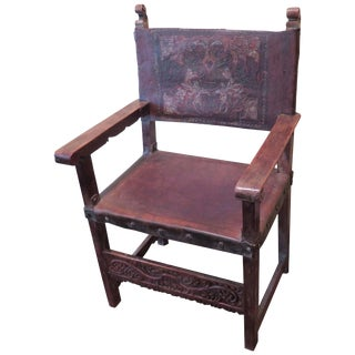 18th Century Embossed Spanish Colonial Chair Haskell Antiques For Sale