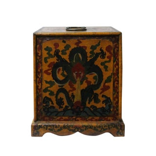 Chinese Distressed Yellow Black Dragon Graphic Trunk Box Chest For Sale