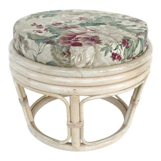 Mid-Century Modern Rattan Stool / Ottoman W/ Floral Cushion For Sale
