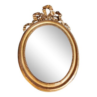 Louis XVI Style 1835-1840 Gold Leaf Wood Mirror, France For Sale