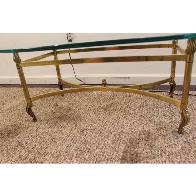 Regency Brass Base & Glass Top Coffee Table - Image 7 of 10