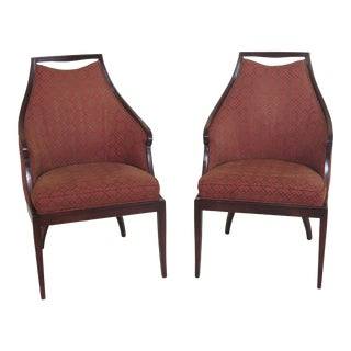 1990s Vintage Baker Regency Style Upholstered Armchairs- A Pair For Sale