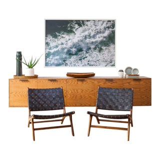Andrianna Shamaris Low Leather Woven & Teak Chairs - a Pair For Sale