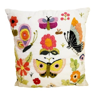 Hand Embroidered Butterflies and Flowers Summerfest Pillow
