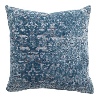 Italian FirmaMenta Blue and Silver Damask Velvet and Wool Pillow For Sale