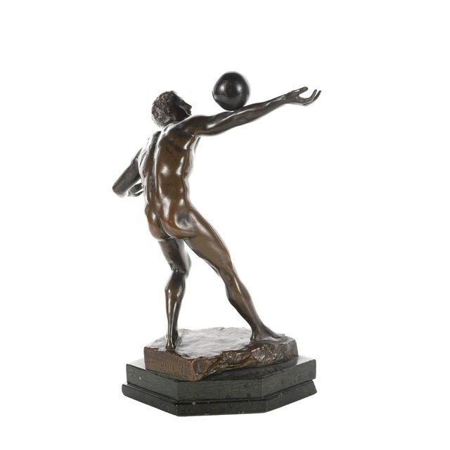 Antique Bronze Olympian Athlete Balancing a Ball For Sale In Los Angeles - Image 6 of 9