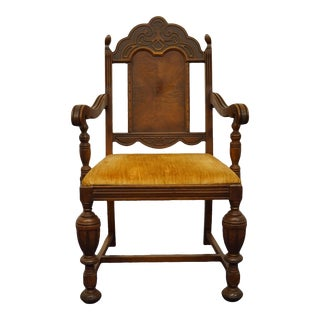 Vintage Antique Walnut English Revival Gothic Jacobean Style Dining Arm Chair For Sale