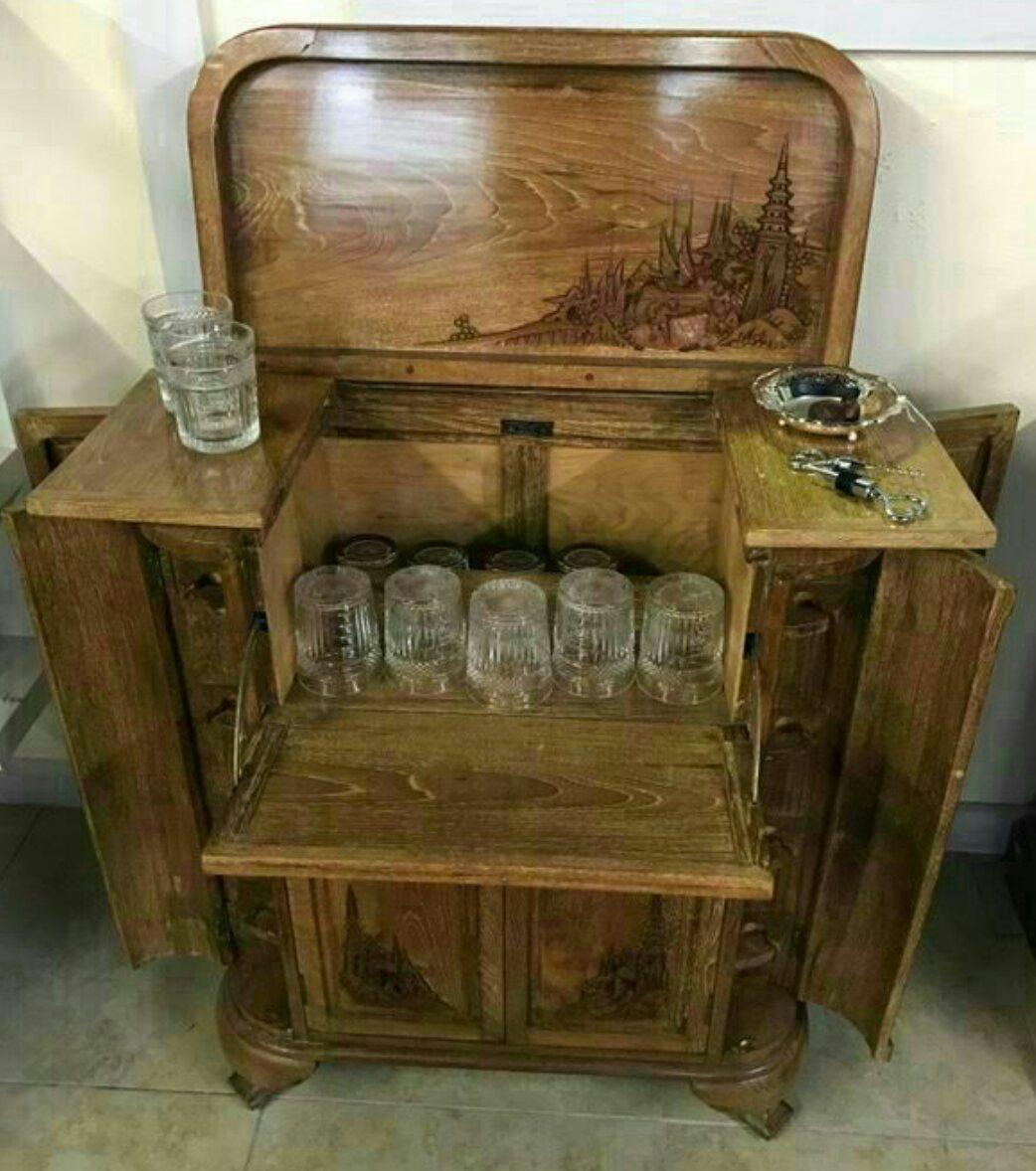 Art Deco Vandyke Folts Vintage Bar Cabinet For Sale   Image 3 Of 7
