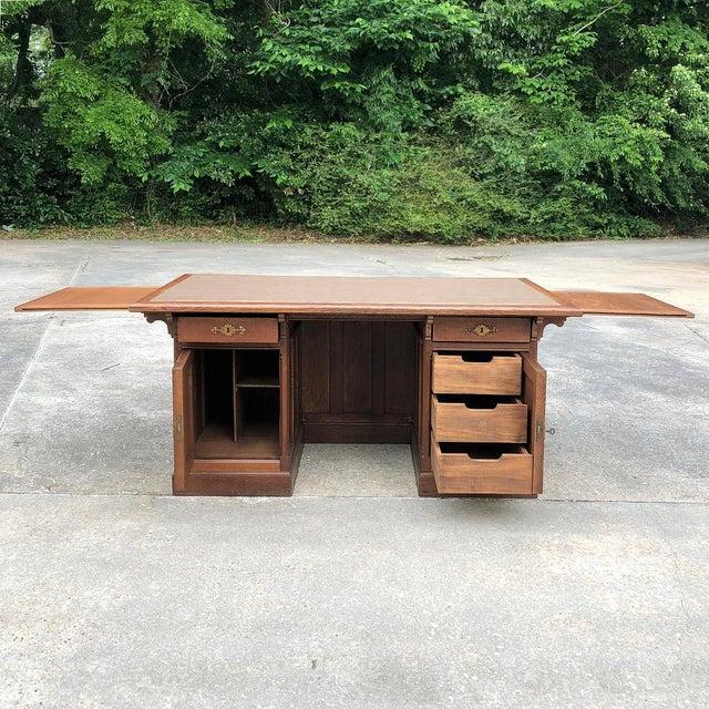 19th Century Gothic Oak Executive Desk For Sale In Dallas - Image 6 of 13