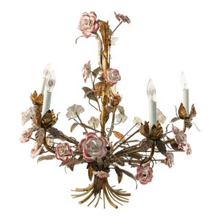 Vintage French Brass Chandelier With Ceramic Flowers For Sale