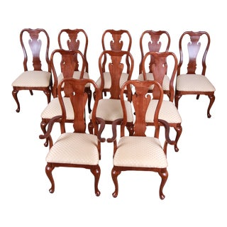 Queen Anne Style Solid Mahogany Dining Chairs - Set of 10 For Sale