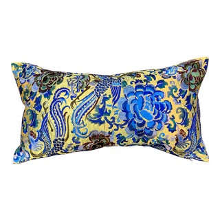 Hollywood Regency Chartreuse & Turquoise Silk Embroidered Chinoiserie Boudoir Lumbar Pillow For Sale