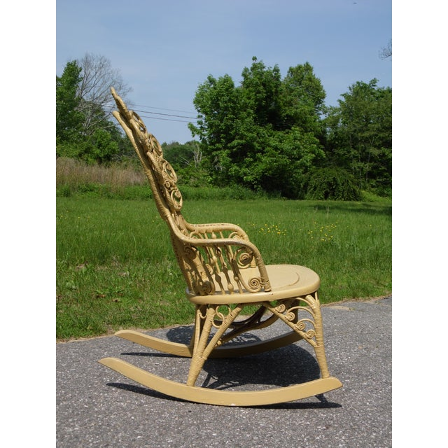 Late 19th Century Antique Victorian Ornate Wicker Portrait Rocking Chair Rocker For Sale - Image 5 of 13