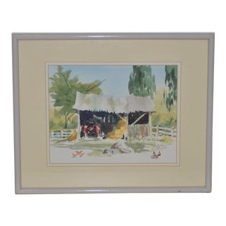 "Jake Lee (1915-1991) Original Watercolor ""Tractor in the Barn"" C.1989 For Sale"