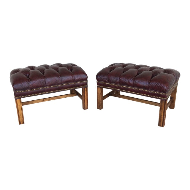 Chippindale Style Stretcher Base Oxblood Footstools A Pair - Image 1 of 9