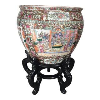 Vintage Asian Porcelain Pot With Pedestal For Sale