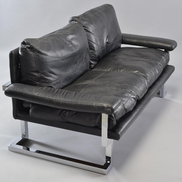 Black Leather and Chrome Sofas by Tim Bates for Pieff & Co. - a Pair For Sale - Image 10 of 13