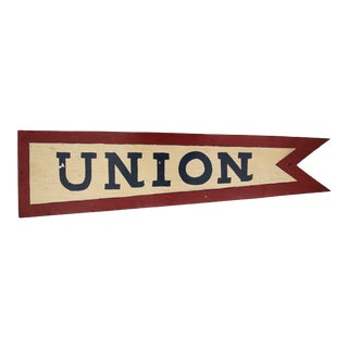 Circa 1950s Hand Painted Wood Union Pennant For Sale