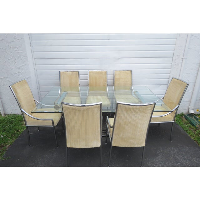 Hollywood Regency Glass Top Dining Table With Eight Chairs by Basset For Sale - Image 9 of 13