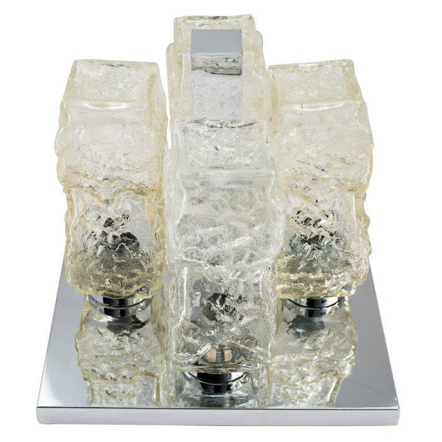 Transparent Brutalist Mid-Century Modern Flush Mount Chandelier by Kalmar For Sale - Image 8 of 8