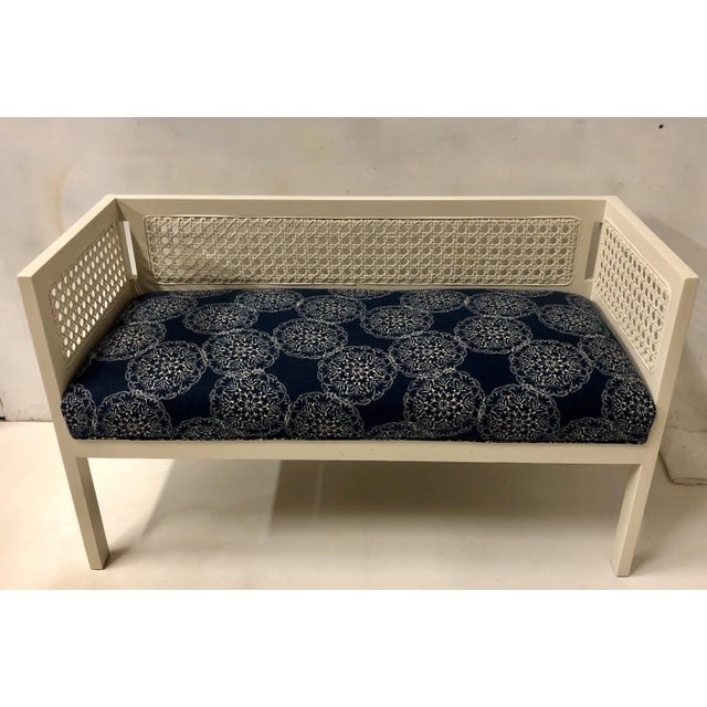 Caning 1970s Caned Bench in Linen For Sale - Image 7 of 8