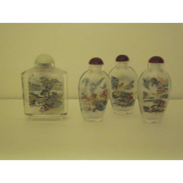 Peking Back Painted Glass Bottles - Set of 4 - Image 3 of 11
