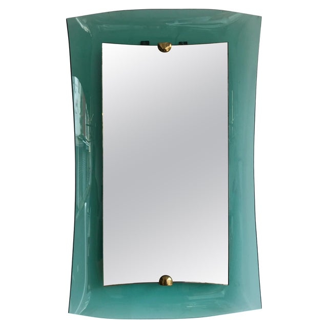 Curve Glass Brass Mirror by Cristal Art, 1960s For Sale