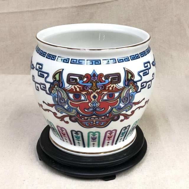 Franklin Mint Oriental Porcelain Jardiniere - Courage of the Terrestrial Tiger For Sale - Image 12 of 12