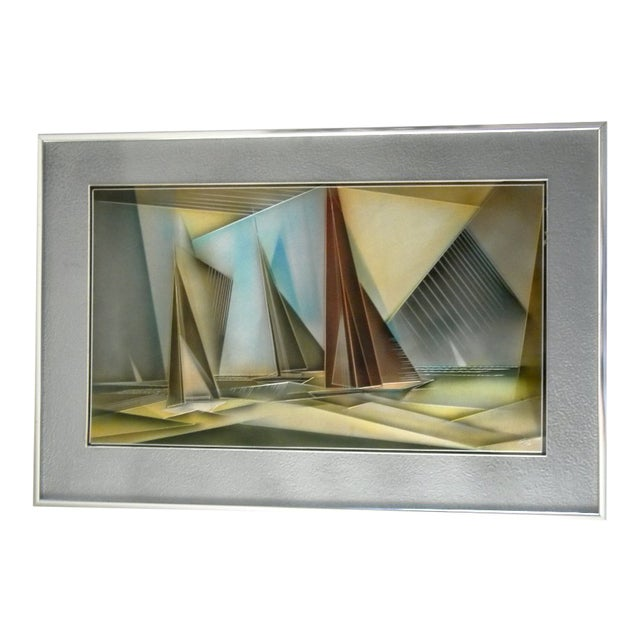 1976 Tom Gall San Francisco Bay Aluminum Etched and Airbrushed Painting For Sale