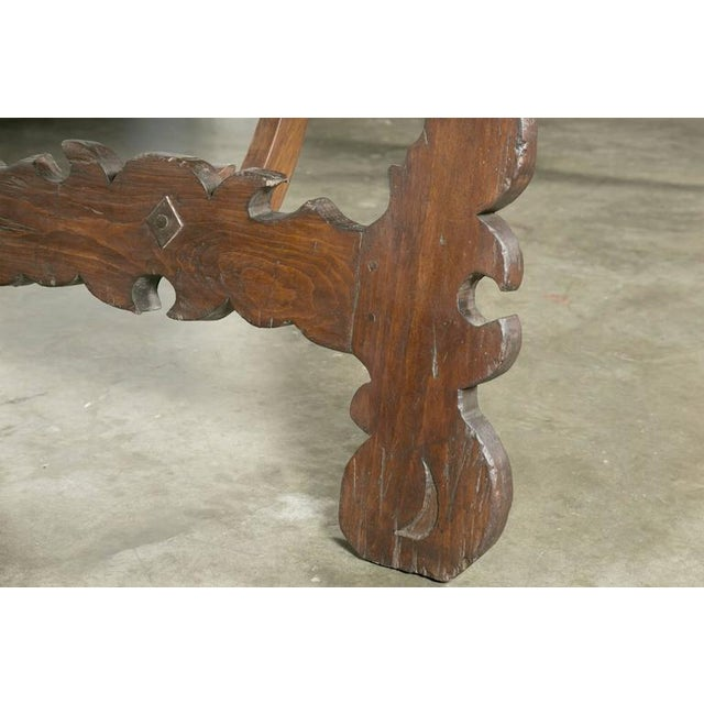 Brown Early 19th Century Italian Baroque Style Walnut Trestle Dining Table For Sale - Image 8 of 10