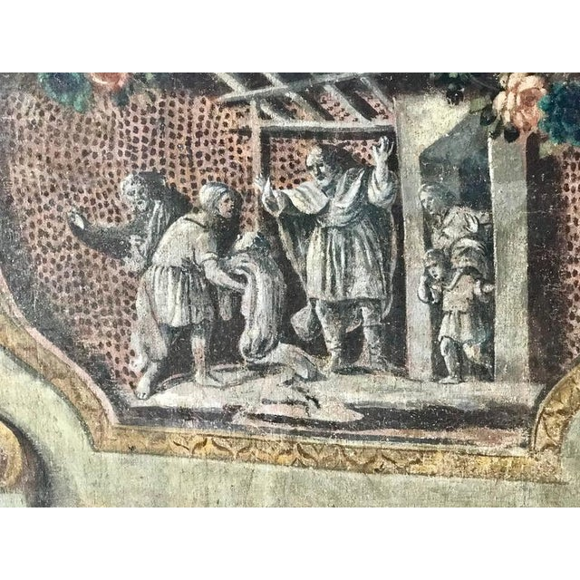 Rare Set of Four Italian 18th Century Panels, Gouache on Canvas For Sale - Image 10 of 11