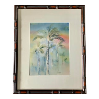 """Vintage """"Palm Beach Lights"""" Palm Tree Original Watercolor Painting For Sale"""