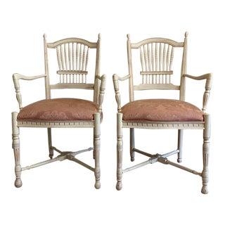Ethan Allen Legacy Wheatback Dining Armchairs - a Pair For Sale