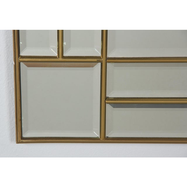1970s Italian Beveled Glass Mirror With Brass Frame For Sale - Image 10 of 13