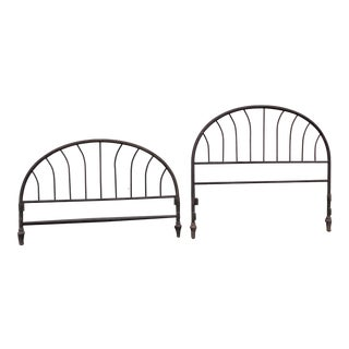 1900s Cottage Metal Headboard and Footboard - a Pair