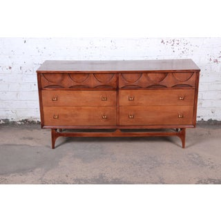Broyhill Brasilia Mid-Century Modern Sculpted Walnut Dresser or Credenza, 1960s Preview