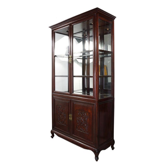 Asian Antique Chinese Carved Rosewood Display/Curio Cabinet For Sale - Image 3 of 9