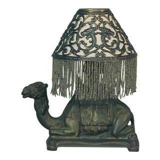 Camel Lamp With Beaded Fringe Shade For Sale