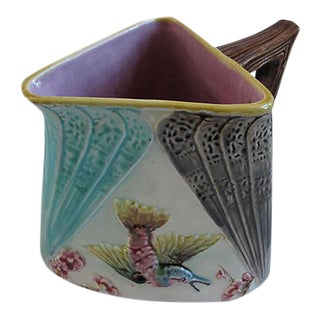 English Majolica Triangular Bird Jug