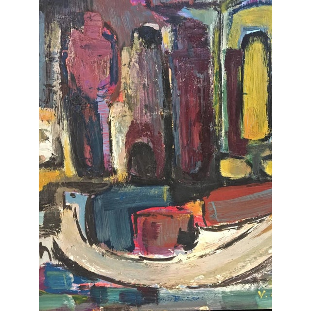 Signed Mid-Century Abstract Oil on Board - Image 5 of 10