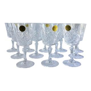 Vintage French Crystal Wine Glasses - Set of 12 For Sale