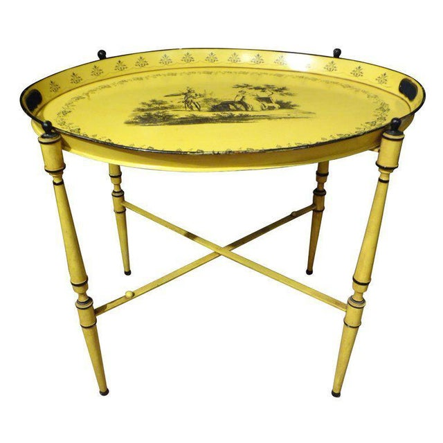 Metal 1940's Italian Neoclassical Tole Tray Table For Sale - Image 7 of 8