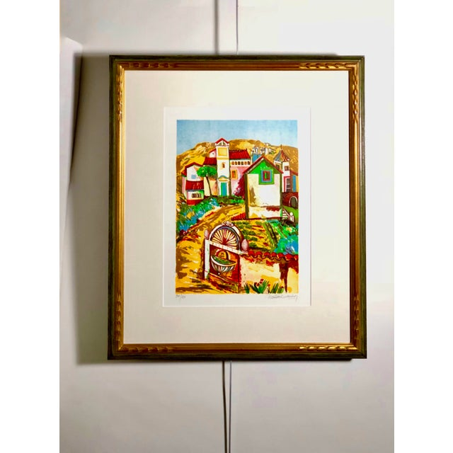 Vibrant Impressionist Retro Framed Print of a Colonial Town For Sale - Image 11 of 11