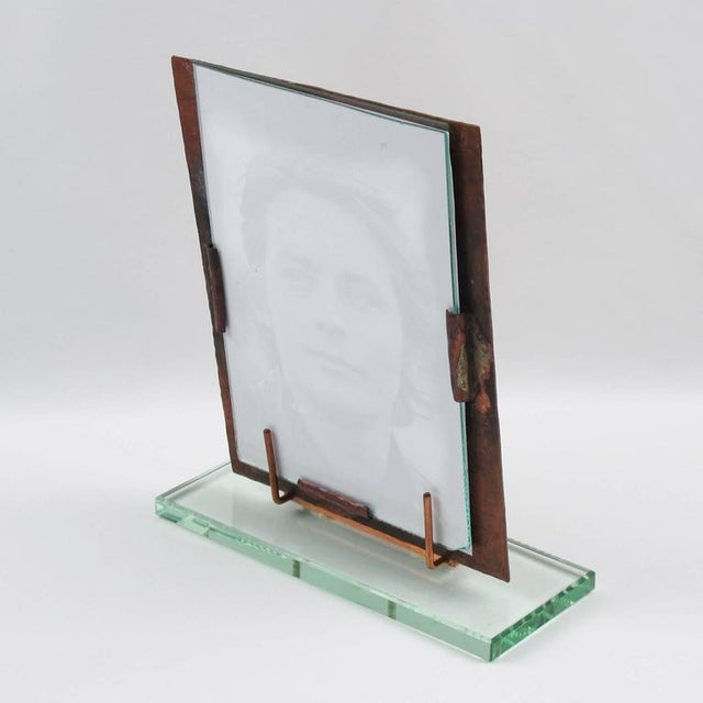 French 1940s Copper and Glass Slab Geometric Picture Photo Frame - Image 3 of 7