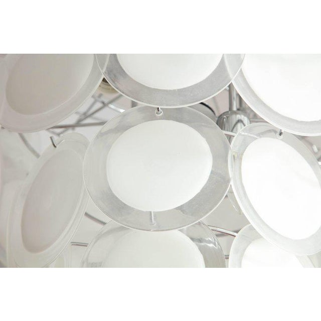 2010s Murano White Glass Disc Chandelier For Sale - Image 5 of 7