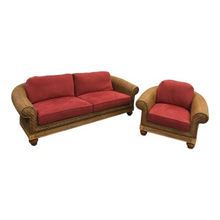 Vintage Florida Beach Style Natural Wicker Oversized Cushioned Sofa Couch & Chair - A Pair For Sale