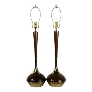 Vintage Mid Century Modern Walnut Brutalist Lamps- A Pair For Sale