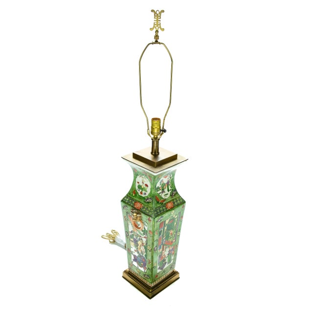 Offering this unmatchable Chinese rose medallion table lamp. Starting on a square solid brass base the porcelain rises....