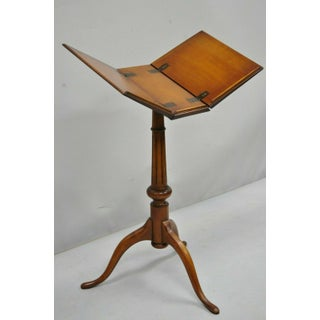 Antique English Queen Anne Style Cherry Wood Book Stand Lectern Rockford, Il Preview